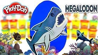 Huevo Sorpresa Gigante de Megalodón Prehistórico Gigantesco Plastilina Play doh Español