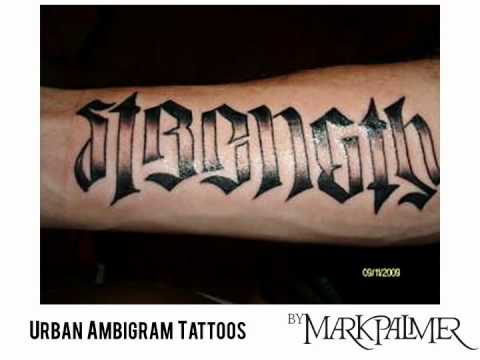 A selection of urban ambigram tattoos by Mark Palmer.