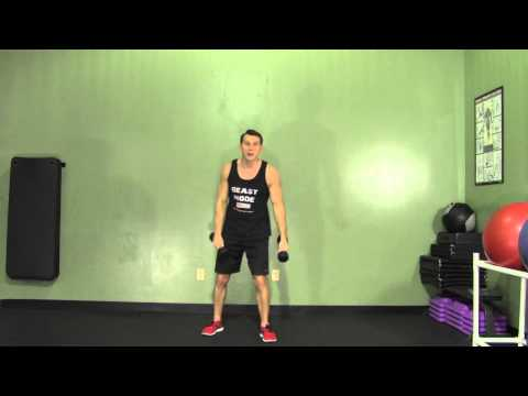 Dumbbell Clean + Press - HASfit Compound Exercises - Total Body Exercise Image 1