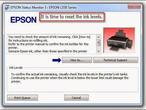It's Time To Reset Ink Levels (Ink Red Light Appear) - Epson Printer