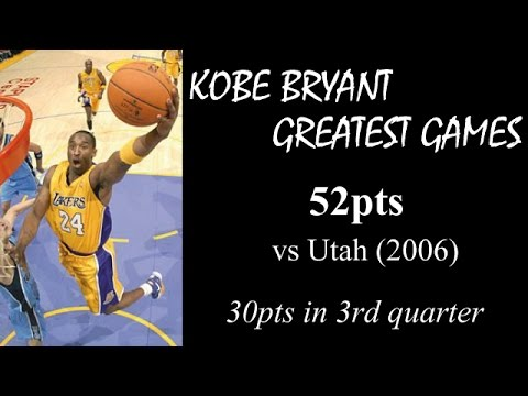 Kobe Bryant greatest games: 52pts vs Utah - 30 in 3rd (2007)