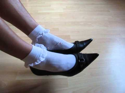 Leather High Heels And Schoolgirl Socks   Shoeplay And Dangling video