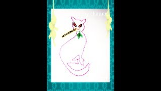 A Cat Design For Kids Dress With Back Stitch!!!