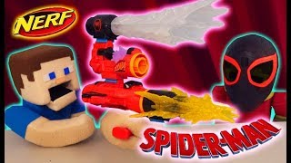 SPIDERMAN Into the Spiderverse Nerf ASSEMBLER Gear! The Miles Morales Blaster Challenge
