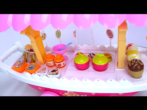 Sweet Shop Toy ICE CREAM Cart for Kids! Peppa Pig & George Pig visit the Ice Cream Parlor for Snacks