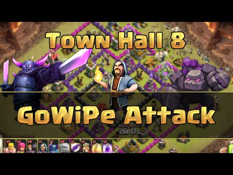 Clash of Clans - TH8 GoWiPe Clan Wars Attack Strategy