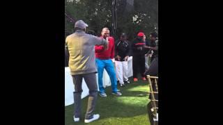 Jeffrey Osborne at George Lopez Celebrity Golf Classic getting comedians to Woo Woo Woo