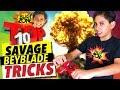 Top 10 Beyblade Tricks On Blast Zone Kid My Most Savage Beyblade Burst Trick Shots mp3
