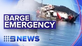 Barge flips trapping workers underneath in Sydney | Nine News Australia