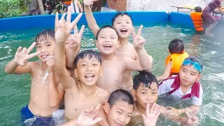 Kids Jumping in Swimming Pool | Kids Learn Breaststroke Swimming Five Little Little Children Song