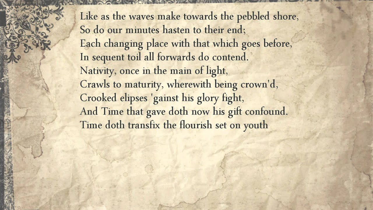 an analysis of shakespeares sonnet 60 waves male towards the pebbled shore