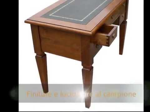 Scrittoio scrivania classica in stile arte povera con piano in pelle verde