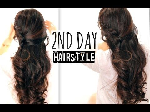 ★ CUTE 2ND DAY HAIR | CROSSOVER BRAIDS HAIRSTYLES TUTORIAL | CURLY HALF-UP FOR SCHOOL PROM WEDDING