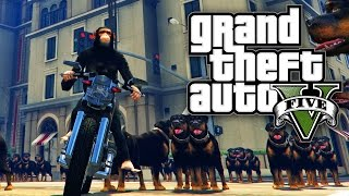 GTA 5 MODS - COWARDLY DOGS & MONKEYS ON MOTORCYLES! (GTA V PC Mods)