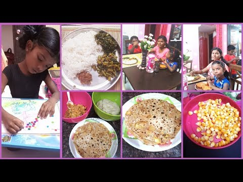 #Amulya's Kitchen & Vlog#DIML/Aloo Paratha Recipe in Telugu/Chikkudu Kaya Fry/Sweet Corn for Kids
