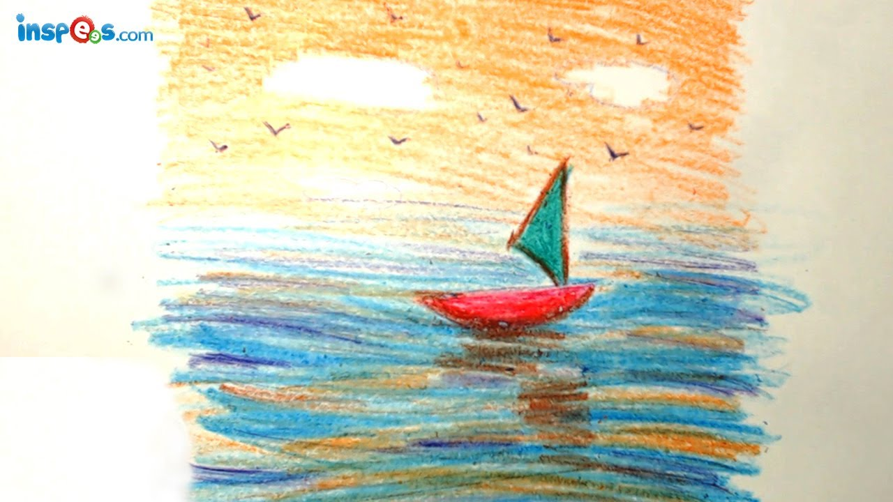 Boat Scenery Drawing How to Draw Boat