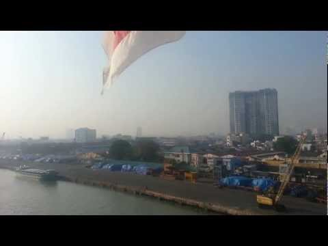 Chao Praya River in Thailand. The Industrial part.  December 2012