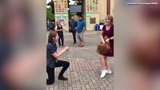 VIDEO:  Couple Unknowingly Plan to Propose on the same day