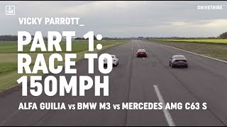 Alfa Giulia Quadrifoglio vs BMW M3 Comp Pack vs Mercedes-AMG C63 S: race to 150mph