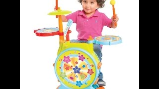 SKY1999 Kids Electronic Toy Drum Set with Adjustable Sing-along Microphone and Stool