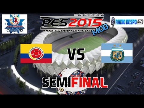 PES 2015(MOD) | Copa América de Chile 2015 | Colombia VS Argentina | Semifinal (2/2)