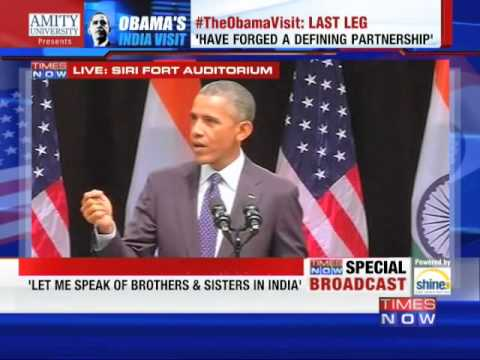 US President Barack Obama's Address To India at The Siri Fort - FULL SPEECH