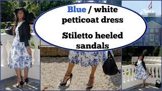 Crossdresser - blue white petticoat dress and sandals with stiletto high heels | NatCrys