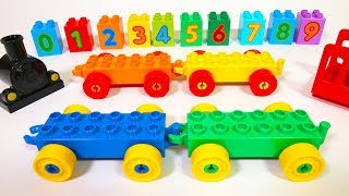 Learn Colors and Numbers with Duplo Train and Building Blocks - for Toddlers