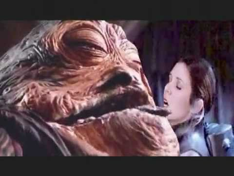 Carrie Fisher becomes Jabbas slave - YouTube