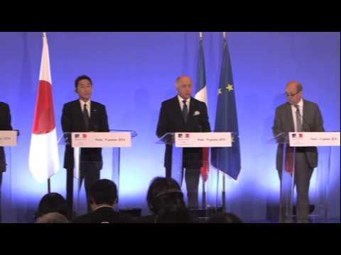 Réunion de Laurent Fabius, Jean-Yves Le Drian et leurs homologues japonais (09/01/2014)