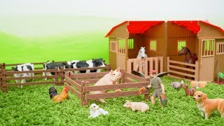 Farm Animals Toys and Farm Barn Playset for Kids