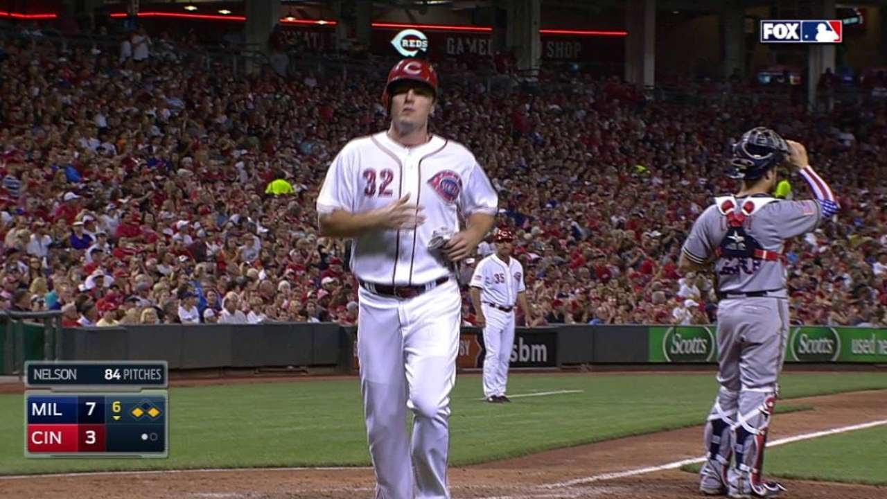 MIL@CIN: Byrd's hit scores Bruce for Reds' third run