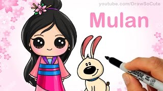 How to Draw Chibi Mulan step by step Cute Disney Princess