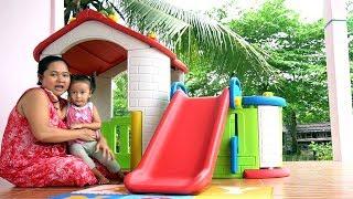 Unboxing Mainan Anak Playhouse with Slide - Rumah rumahan dengan perosotan - Playground mini