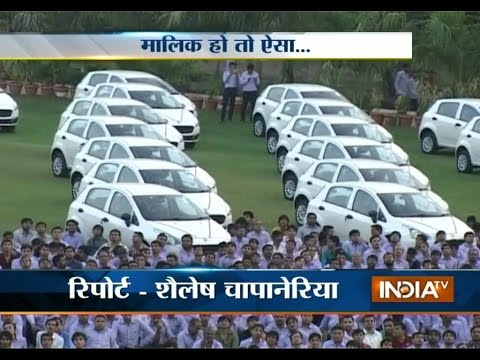 Diwali Gifts: Diamond Trader Gifts 491 Cars To Employees - India Tv video