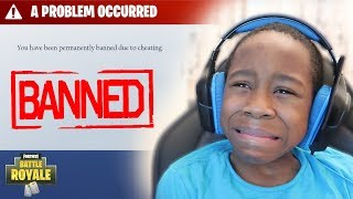 Kid gets BANNED from Fortnite..**PRANK!** (Funny Fortnite Trolling)