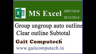 Group ungroup auto outline clear outline subtotal in excel in Hindi in excel 2016/2013/2010/2007