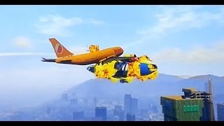 GTA V Airplane snatch and Crash with Atomic Blimp - Flugzeug Jumbo Jet- Atomic-Luftschiff