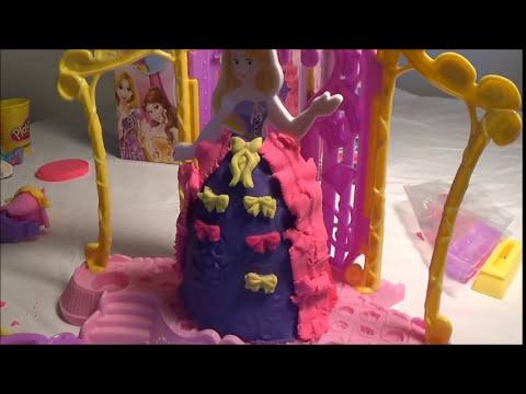 Play Doh Disena Vestidos Para Princesas Rapunzel y Bella *  Plastilina Play doh *Princesas Disney