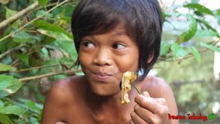 Primitive Technology - Eating delicious - Find and cooking Snail #103
