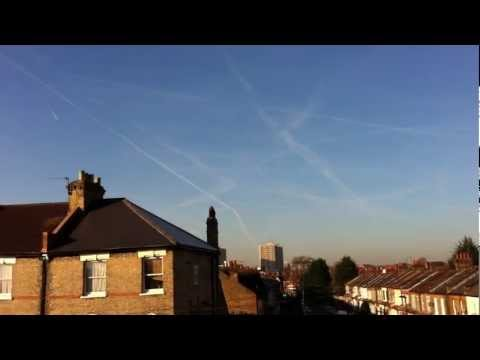 Cold morning Chemtrail skies, Woodgreen, North London, Uk Weather Share (Jan.16th.2012)