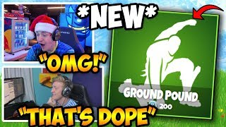 STREAMERS REACT TO *NEW* GROUND POUND EMOTE/DANCE!! | Fortnite FUNNY & INSANE Moments
