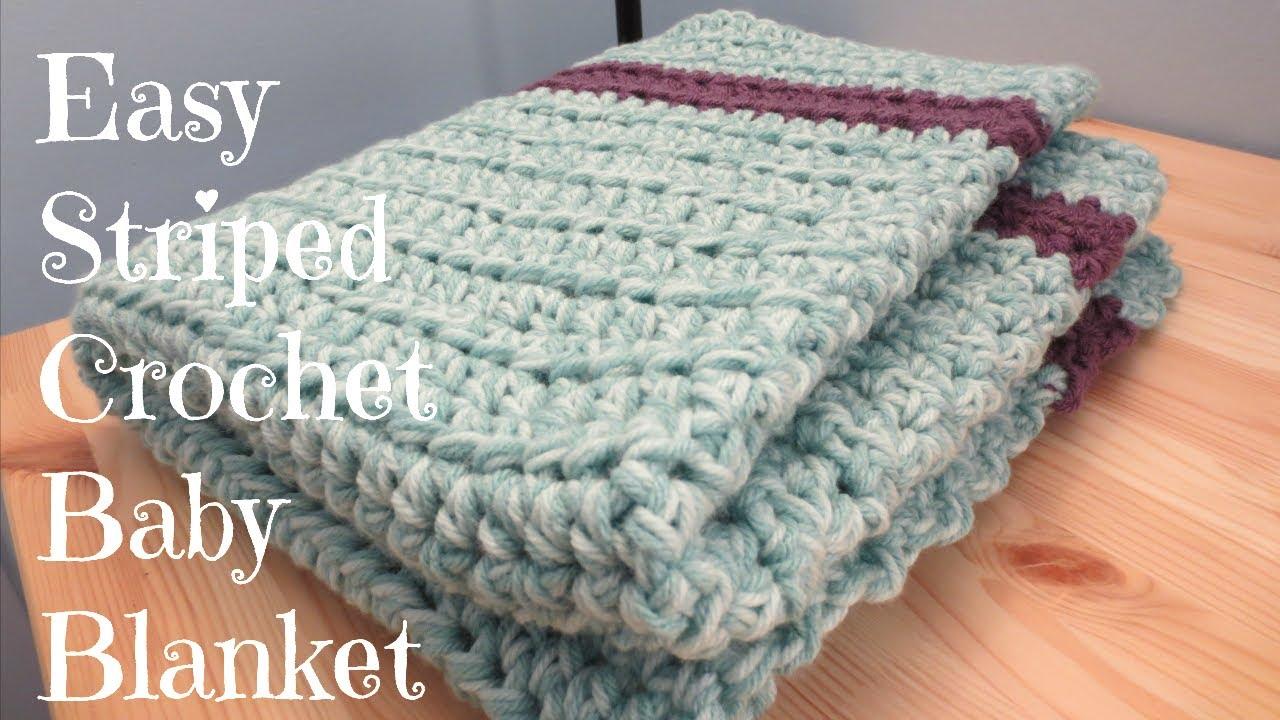 Easy Striped Crochet Baby Blanket - YouTube