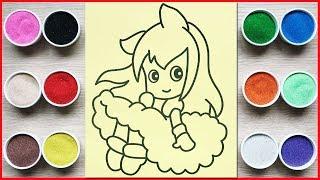 Đồ chơi trẻ em TÔ MÀU TRANH CÁT CÔNG CHÚA MÂY - Colored sand painting princess toys (Chim Xinh)