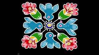 Birds rangoli design for beginners 10*10dots with colors | Rangoli for beginners | Birds kolams |
