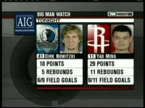 Dirk Nowitzki 30 pts,11 reb vs Yao Ming 36 pts,12 reb,season 2005/06 mavs vs rockets