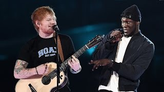 """Ed Sheeran Performs """"Castle On The Hill""""/""""Shape Of You"""" Remix At 2017 Brit Awards"""