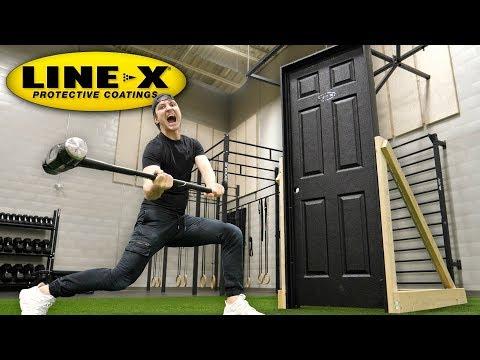 THIS SPRAY MAKES ANY DOOR UNBREAKABLE!! (LINE-X UNBREAKABLE DOOR EXPERIMENT) thumbnail
