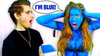 My Girlfriend DYED Her Skin BLUE Prank! *I Freaked*