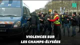 Gilets jaunes : Un camion de gendarmerie pris pour cible sur les Champs-Élysées